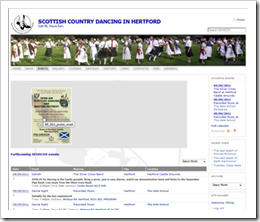 Example of events page with poster in place